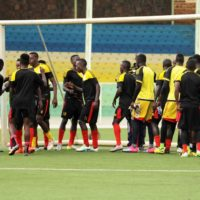 CHAN Qualifiers 2018: The cranes hold last training session at Kigali Stadium.